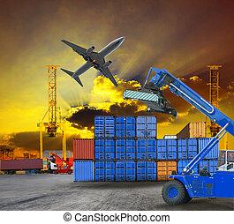 contenedor, barco, Yarda, escena, puerto
