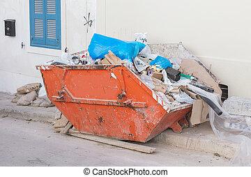 contenedor, basura, grecia