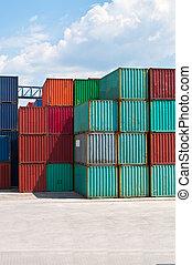 contenedor carga, en, un, almacenamiento, sitio