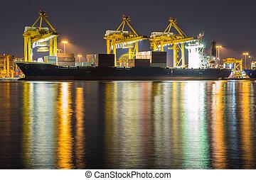 contenedor, carga, nave de la carga