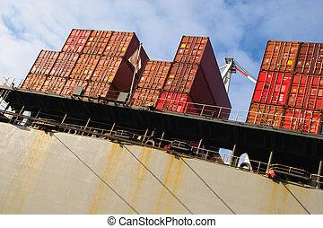 contenedor carga, pila, carga