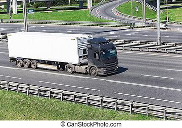 contenedor, conducción, carretera, blanco, semitrailer, ...