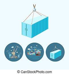 contenedor, conjunto, iconos, grúas, ilustración, vector,...