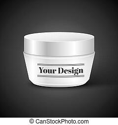 contenedor, cosmético, polvo, blanco, crema, o, gel