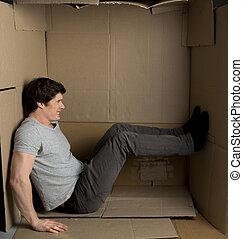 contenedor, dentro, malestar, papel, pequeño, tipo,...
