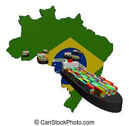 contenedor, exportación, barcos, brasileño