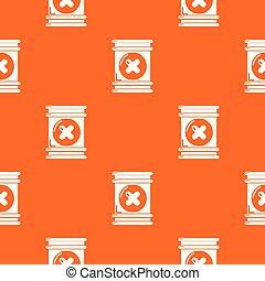 contenedor, patrón, tóxico, vector, naranja, desperdicio