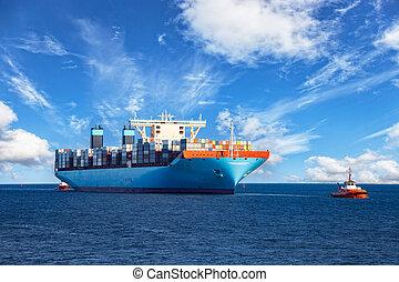 contenedor, remolcador, remolcar, barco