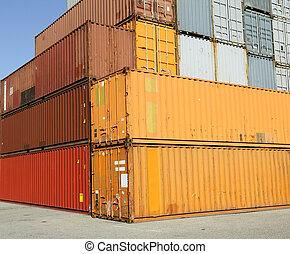 contenedores, carga, terminal, carga, puerto