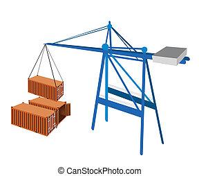 conteneur transport, être, hoisted, par, a, crane.