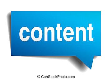 contenido, azul, 3d, realista, papel, burbuja del discurso,...