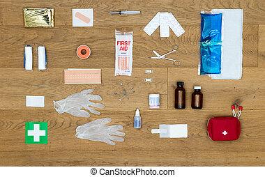 contenido, de, un, kit de primeros auxilios, plano de fondo