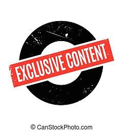 contenido, exclusivo, sello de goma