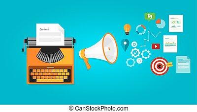 contenido, mercadotecnia, blog, optimization, en línea, seo...