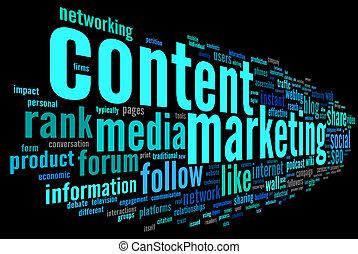 contenido, mercadotecnia, conept, en, palabra, etiqueta,...