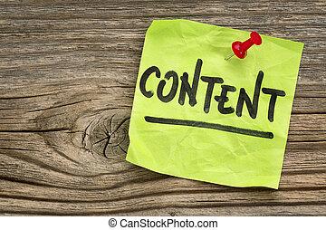 contenido, nota, recordatorio, -