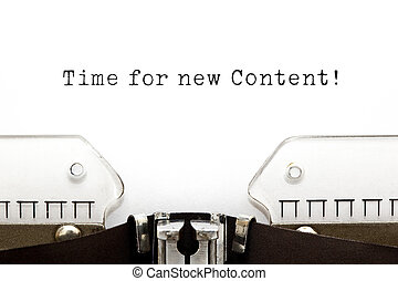 contenido, nuevo, tiempo, máquina de escribir
