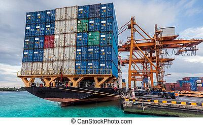 contenitore, carico, nave noleggio, con, lavorativo, gru,...