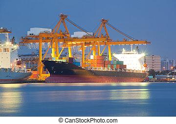 contenitore, carico, nave noleggio