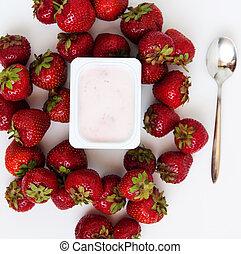 contenitore, fragole, mucchio, yogurt, fresco, bianco