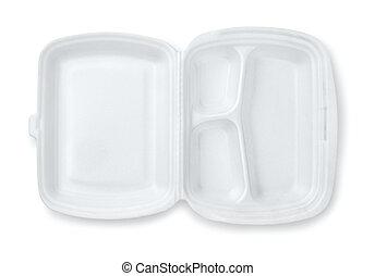 contenitore, schiuma, tre, pasto, scompartimento, aperto,...