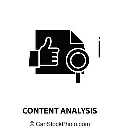 content analysis icon, black vector sign with editable strokes, concept illustration