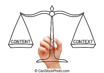 Content And Context Balance Marketing Scale Concept