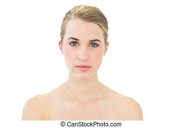 Content beautiful blonde posing