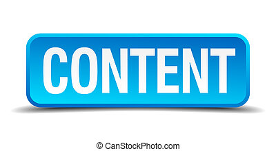 content blue 3d realistic square isolated button