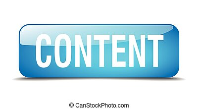 content blue square 3d realistic isolated web button