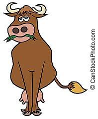 Content Cartoon Cow - A happy cartoon cow is contentedly...