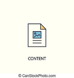 Content concept 2 colored line icon. Simple yellow and blue element illustration. Content concept outline design