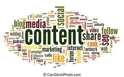 Content and Social media concept in word tag cloud on white background