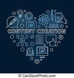 Content Creation Heart vector blue linear illustration