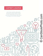 Content Curation - line design brochure poster template A4 -...
