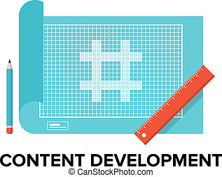 Content development flat illustration