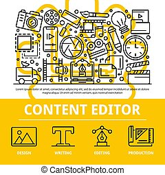 Content editor concept background, outline style