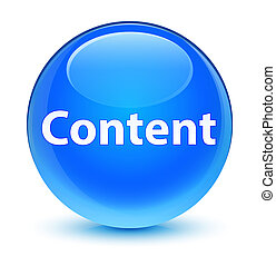Content glassy cyan blue round button