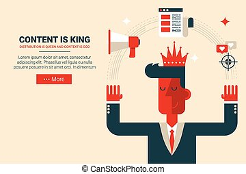 Content is king concept - Marketing man with floating...