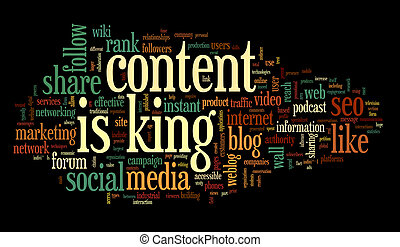 Content is king concept in word tag cloud on black background