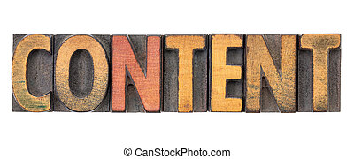 content - isolated word in wood type
