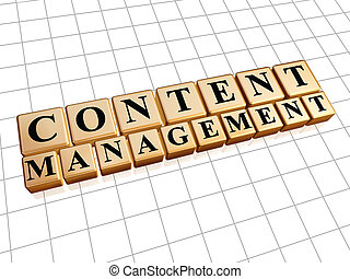 content management in golden cubes - internet concept