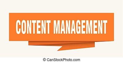 content management sign. content management paper origami...