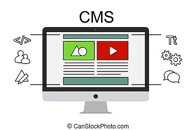 Content management system concept flat vector illustration