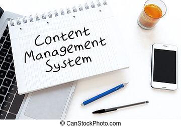 Content Management System - handwritten text in a notebook...