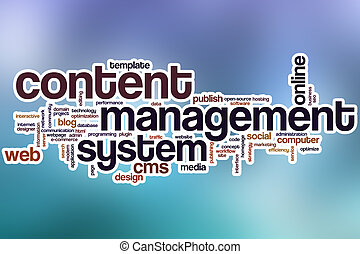 Content management system word cloud with abstract background