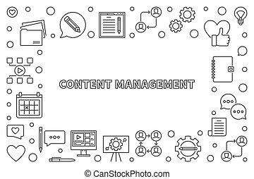 Content Management vector concept thin line frame