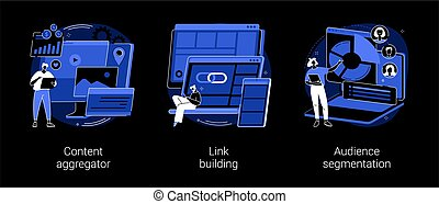 Content marketing abstract concept vector illustrations.