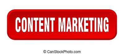 content marketing button. content marketing square 3d push button