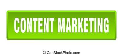 content marketing button. content marketing square green push button